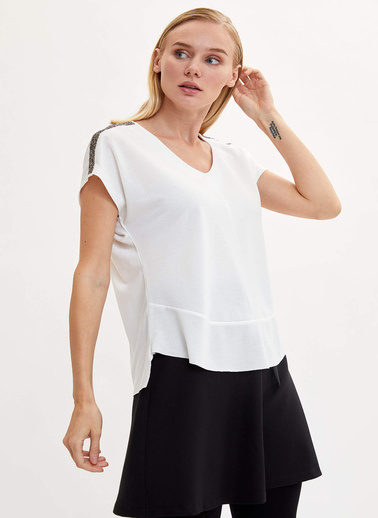 DeFacto Payet Detaylı Kısa Kollu T-shirt Ekru